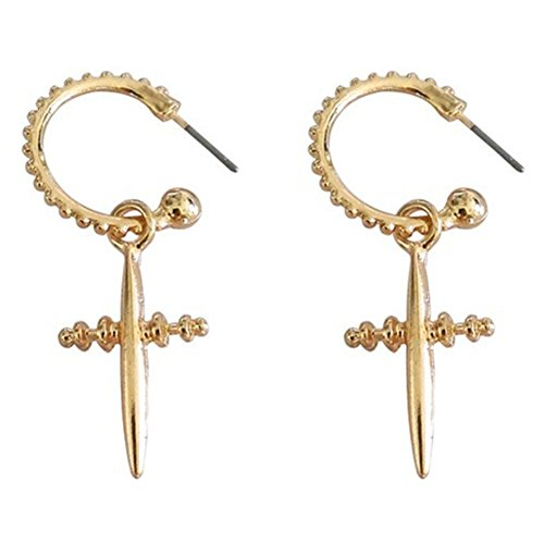 18K Gold Plated Two-tone screw threaded Cross with Letter C hook Women Dangle Earrings ()