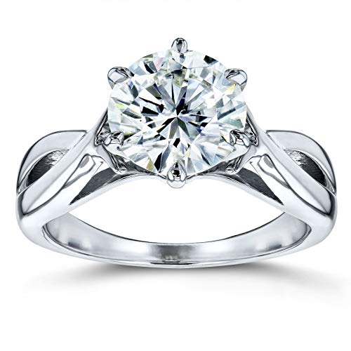- Moissanite Solitaire Open Shank Twist Engagement Ring 1 7/8 Carat 14k White Gold (FG/VS), 5.5