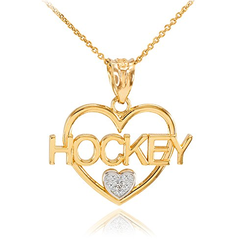 - 14k Two-Tone Yellow Gold and White Gold I Love Hockey Open Heart Diamond Necklace, 22