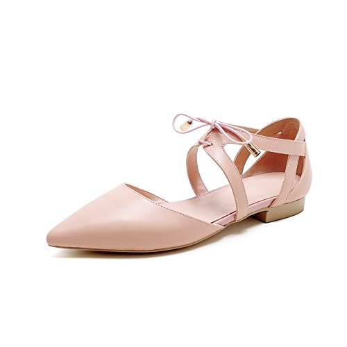 AmoonyFashion Womens Lace Up Pointed Closed Toe Low Heels Solid Pumps Shoes Pink nyjkU1UKo7