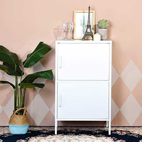 FurnitureR Storage Cabinets Floor Cabinet with Doors and Shelves Metal Organizer Unit Free Standing Collection 2 Tier Printing in White for Bathroom Living Room Home - Metal Cabinets Bathroom