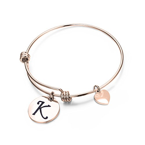 elet,Rose Gold Letter Bracelet, Personalized Jewelry, Hand Stamped Jewelry (Rose Gold-K) ()