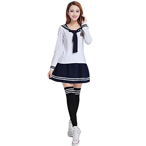 [Halloween Costume Women's Long Sleeve Sailor Suit Cosplay School Girl Uniform (L, White & Navy)] (Normal School Girl Costume)