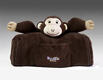 BlanKid Buddy 4-In-1 Backpack, Blanket, Pillow, and Plush Animal - Makemba the Monkey