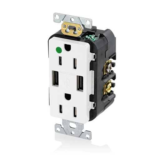 Leviton T5632-HGW 15-Amp Hospital Grade USB Charger/Tamper-Resistant Duplex Receptacle, White ()