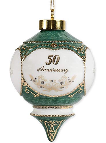 Happy 50th Wedding Anniversary Jewel Victorian 4.5 Inch Ball Hanging Ornament (Ideas 50th Anniversary Gifts)