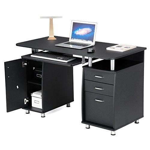 SONGMICS Scrivania ufficio Scrivania per computer Con Ripiani Tastiera Scorrevole 3 Cassetto 121 x 60 x 76 cm Bianco LCD871W
