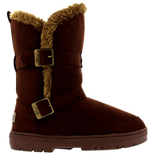 Mujer Twin Buckle Short Fur Lined Impermeable Invierno Rain Nieve Botas Marrón