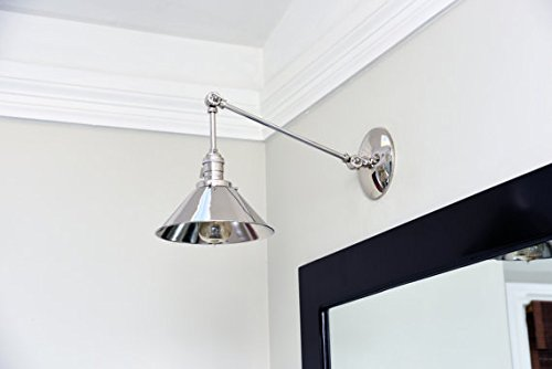 the best attitude d2fe2 06454 Articulating Boom Wall Sconce brass Shade Vanity Mid Century ...
