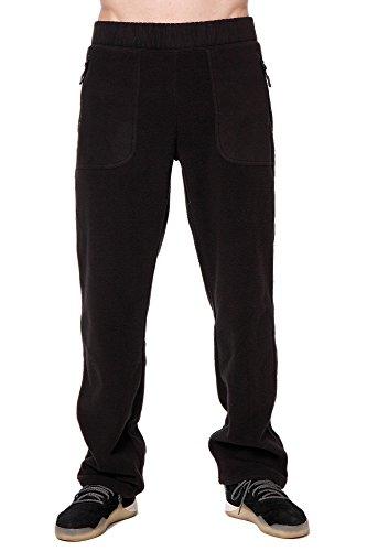 Trailside Supply Co. Men's Standard Polar Fleece Thermal Sweatpants with Zip Pockets Open Bottom, Black, Large