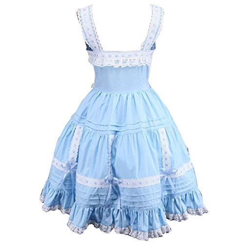 Blau Klassisches Damen Kleid Vintages Lace Frauen Partiss Rock Kleid Viktorianisches Lolita vPwCAq