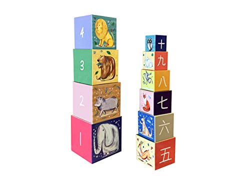 Chinese & English Bilingual Learning Toy, Artist illustrated with stunning hand drawn animals. Safe, Lightweight 10 Block Design. Hand drawn English Numbers & Pinyin. -