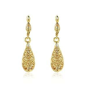 Boosic 14K Gold Openwork Water Drop Shaped Filigree Dangle Earrings For Girl