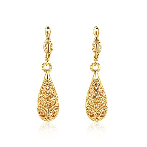 Vintage teardrop earrings waterdrop hollow ball earrings dangle flower Ear Studs for bridal women girls .