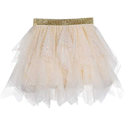 Sunhusing Adorable Children Kids Irregular Sequins Embellished Tulle Tutu Skirt Princess Pettiskirt Yellow