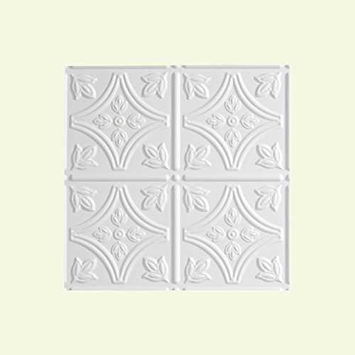 """Fasade - Traditional 1 Matte White Lay In Ceiling Tile / Ceiling Panel - Fast and Easy Installation (12"""" X 12"""" Sample)"""