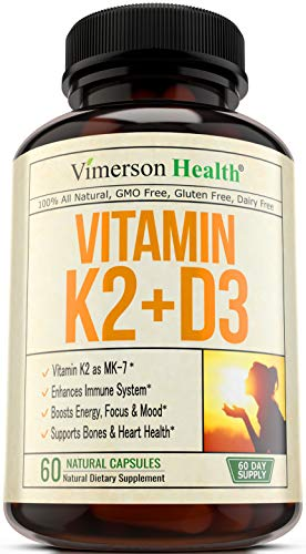 Vitamin K2 (MK7) + D3 Supplement - Strong Bones & Healthy Heart Formula. with Calcium Citrate, Artichoke & Chromium for Better Absorption. 100mcg K2 MK-7 & 5000IU of D3. 60 Easy-to-Swallow Capsules.