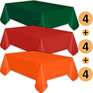 12 Plastic Tablecloths - Forest Green, Red, Orange - Premium Thickness Disposable Table Cover, 108 x 54 Inch, 4 Each Color