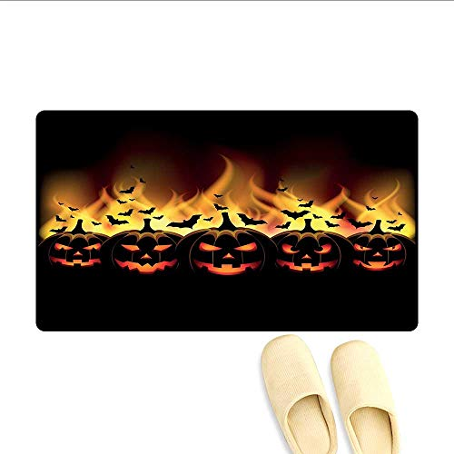 Door-mat Happy Halloween Image with Jack o Lanterns on Fire with Bats Holiday Door Mats for Inside Bathroom Mat Non Slip Black Scarlet -