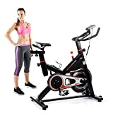 Product review for Upgrade Indoor Cycling Bike Exercise Bike, Fitness Cycling Bike with LCD Monitor& Heart Pulse Sensors, Adjustable Sport Trainer Stationary Bicycle, Max User Weight:280lbs,Suit for 5~6.2 ft People Use