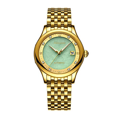 (JHHXW Wristwatch Hetian Jade Fully Automatic Mechanical Watch Calendar Night Vision Waterproof Men Steel Belt,Gold/Emerald)