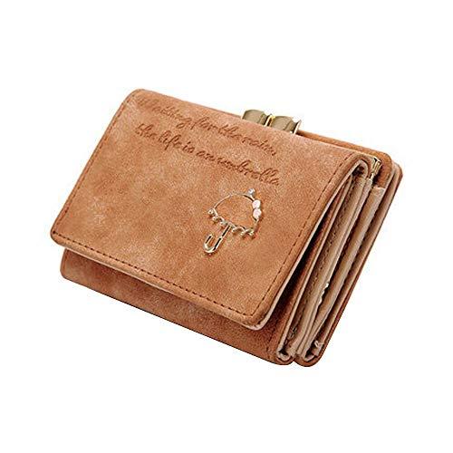 Women Lady Umbrella Leather Wallets Button Clutch Purse Girl Short Handbags Bags (Color - Brown)