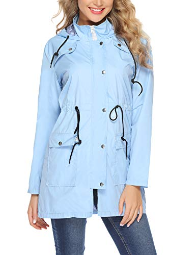 Aiboria Womens Waterproof Lightweight Windbreaker Raincoat Hooded Rain Jacket Blue