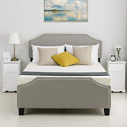LAGRIMA Upholstered Linen Platform Bed | Curved Shape Headboard, Footboard and Metal Frame with Sticky Wood Slat Support | Khaki, Full