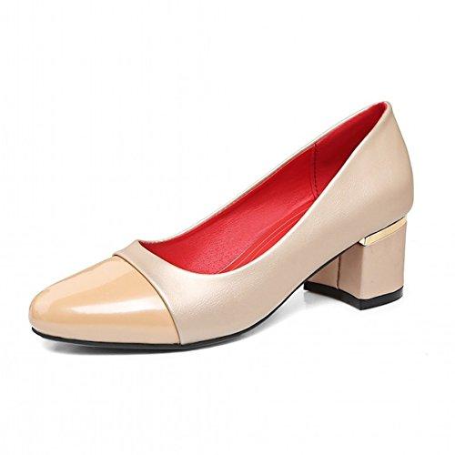 DIMAOL Chaussures Femmes de Confort Nouveauté Printemps Automne Similicuir Talon Talons Bout Rond Pour les Tenues D'Argent Beige Rouge Vert Beige xVZJcmi