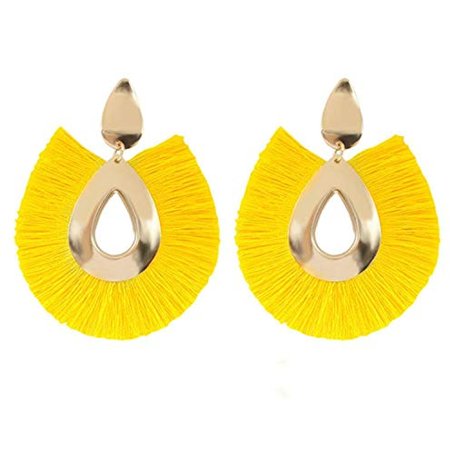 16 Colors Ethnic Alloy Fan Tassel Earrings Bohemia Fringe Earrings New Waterdrop Tassel Dangles ()