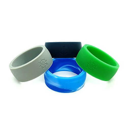 Mens Silicone Wedding Rings Helm and Anchor Logo Safe and Durable Silicone Wedding Bands for The Active Lifestyle,8.7mm 2mm Thick (Green, Dark Grey, Dark Blue, Blue camo, 8)