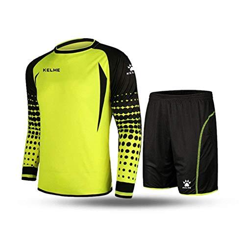 (Football Goalkeeper Long-Sleeve Suit Soccer Jersey Set Yellow/Black)