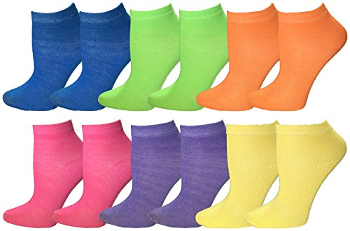 Kids Ankle Socks, 12 Pairs Colorful Cute No Show Fun Sport Sock, Boys & Girls, Children, Bulk (Neon, 4-6 (Child Shoe Size 7-10)) (Neon Socks No Show)
