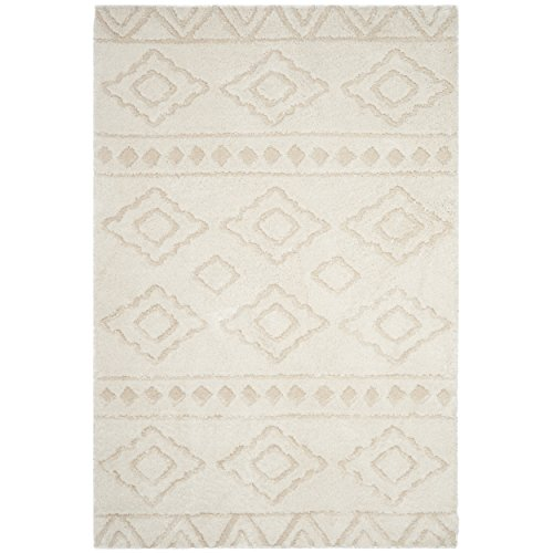 Safavieh Sparta Shag Collection SPG513D Ivory and Beige Area Rug (8' x 10') (Area Sparta Collection Rug)