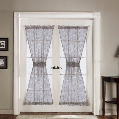 Lush Decor Antique Door Panel 4-Piece, 42-Inch by 72-Inch, Gray (Door Panel Curtain Gray)