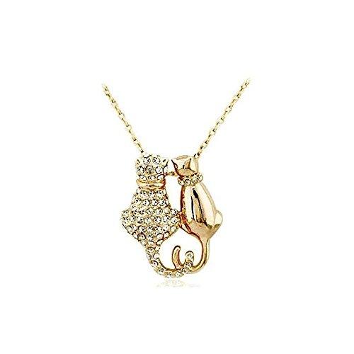 Collier couple de chats cristaux swarovski elements plaqué or