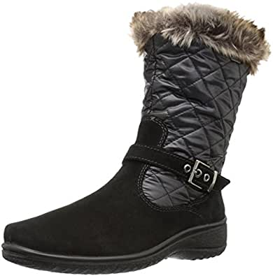 Amazon.com | ara Women's May Snow Boot, Black, Taupe Suede