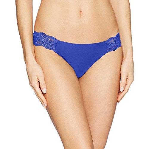 b.tempt'd by Wacoal Women's B.Bare Thong Panty, Royal Blue, M - Blue Lace Thong Panties