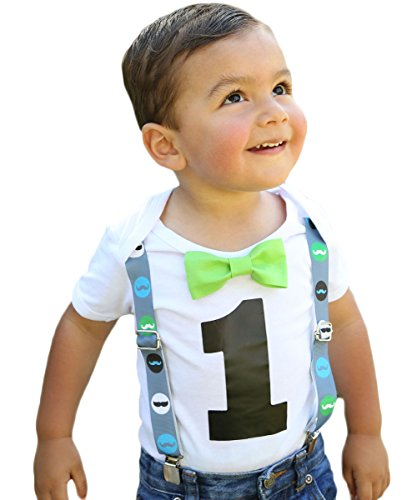 Noah's Boytique First Birthday Outfit Boy Little Man Mustache Bash Cake Smash Grey Lime Blue Bow Tie Suspenders Number One 6-12 Months