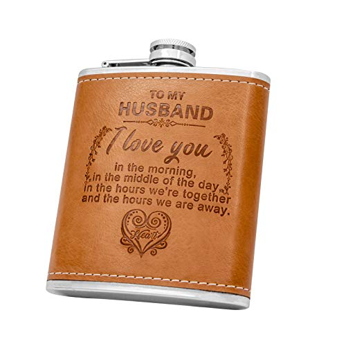 Personalized Flask Set- Engraved Custom Hip Flasks, Husband Gift- Stainless Steel with Leather Flask Gifts For Men, Wedding Favor Customized Wedding, Boyfriend Man Hip Gift Set (Brown-For Husband)