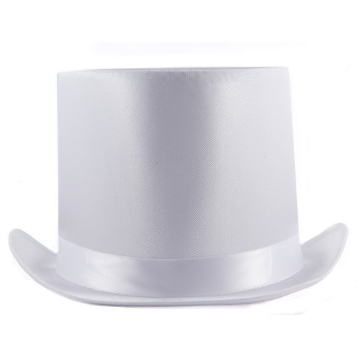 HMS Satin Tall Top Hat, White, One Size (White Satin Top Hat)