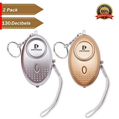 Personal Alarm, 130Db Personal Security Alarm Keychain with LED Flashlight Portable Safety Alarm for Women Children Shopping Traveling Jogging, as a Bag Decoration (Gold Silver)