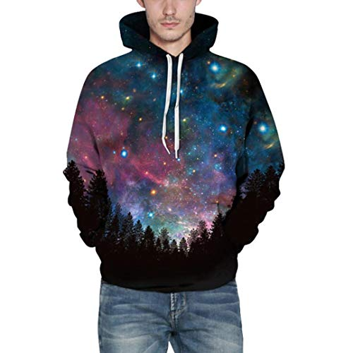 (Mens Sweatshirt,Realdo Fashion Casual Autumn Winter 3D Print Comfy Caps Skin Hoodie Tops Blouse(XX-Large/3X-Large,Blue Stars))