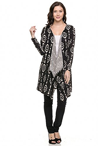 Womens Patterned Long Sleeve Open Cardigan (Large, Black)