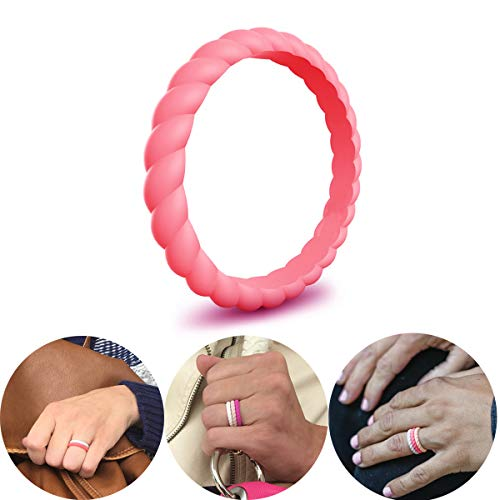 CHSTAR Braided Silicone Wedding Rings for Women - Premium Fashion Forward Stackable Silicone Rubber Wedding Bands, Size 4 5 6 7 8 9, Hypoallergenic Medical Grade Silicone Ring - Classic Style.