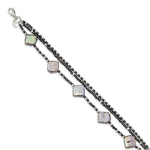 (Lex & Lu Sterling Silver Hematite & FW Cult. Pearl 3-Strand Bracelet or)