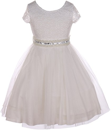 Little Girl Cap Sleeve Lace Top Tulle Pearl Easter Graduation Flower Girl Dress (20JK45S) Off White 6