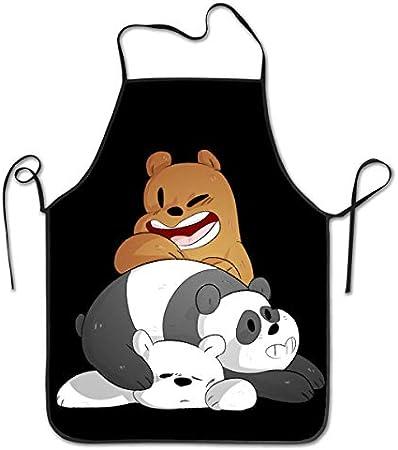 ishengx We Bare Bears Delantales Impermeables Ajustables Unisex para cocinar Cocina Restaurante Tienda de Bebidas