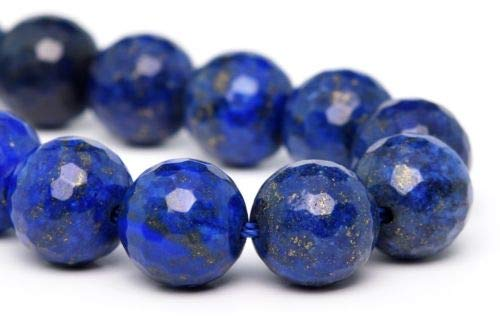 10mm Natural Lapis Lazuli Beads Grade Micro Faceted Round Loose Beads 7.5'' Crafting Key Chain Bracelet Necklace Jewelry Accessories Pendants -