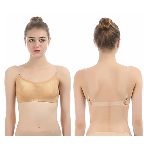 Price comparison product image iMucci Professional Cotton Beige Clear Back Bra - Seamless Backless Freebra with Adjustable Clear Straps for Ballet Dance Party Child 12-16 Years